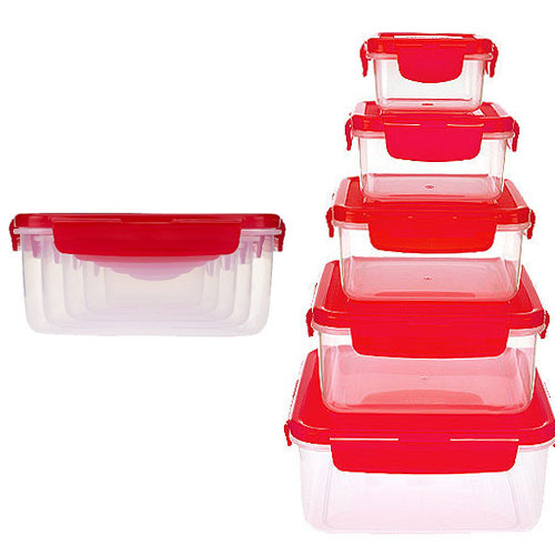 EXTREME SGD - Lock & Lock 5 Piece Nestable Square Food Storage Container Set - One set for $10 or two or more for $8.99 each! - SHIPS FREE!