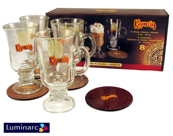 Kahlua 8 Piece Gift Set - 4 Glass Mugs & 4 Coasters - SHIPS FREE!