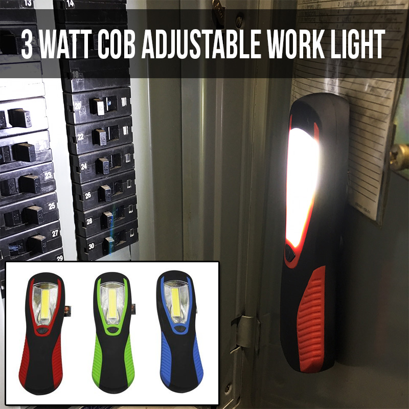 Meatball.ThatDailyDeal - EXTREME SGD - CLEARANCE - 3 Pack of Max Force 3 Watt Lumen COB Work Lights - Magnetic Back and Hanging Hook - BATTERIES INCLUDED - Just $1.99 per light! SHIPS FREE!